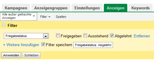 adwords-filter-freigabestatus