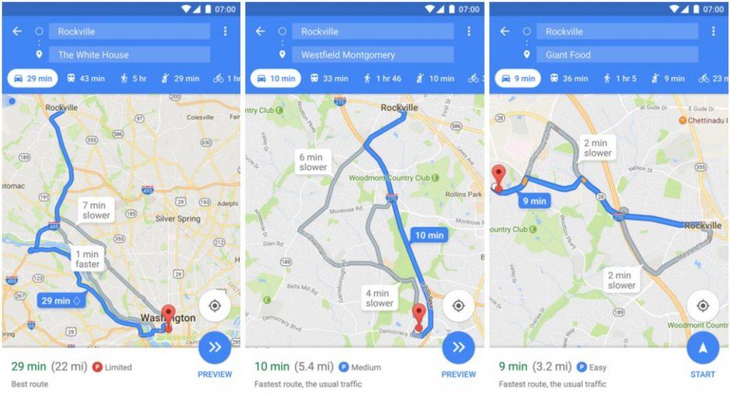 Google Maps zeigt Parkplatz-Situation am Zielort on