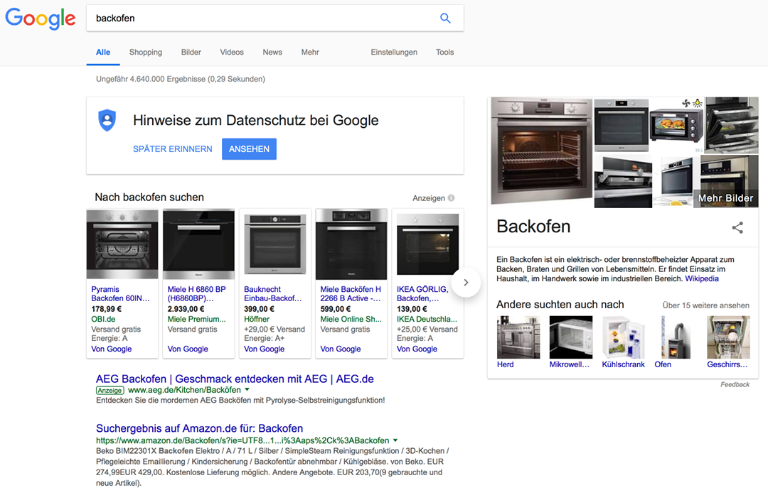 Google Shopping Actions Backofen Suche
