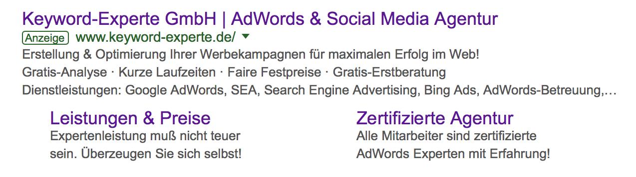 Keyword Experte Google AdWords Suche